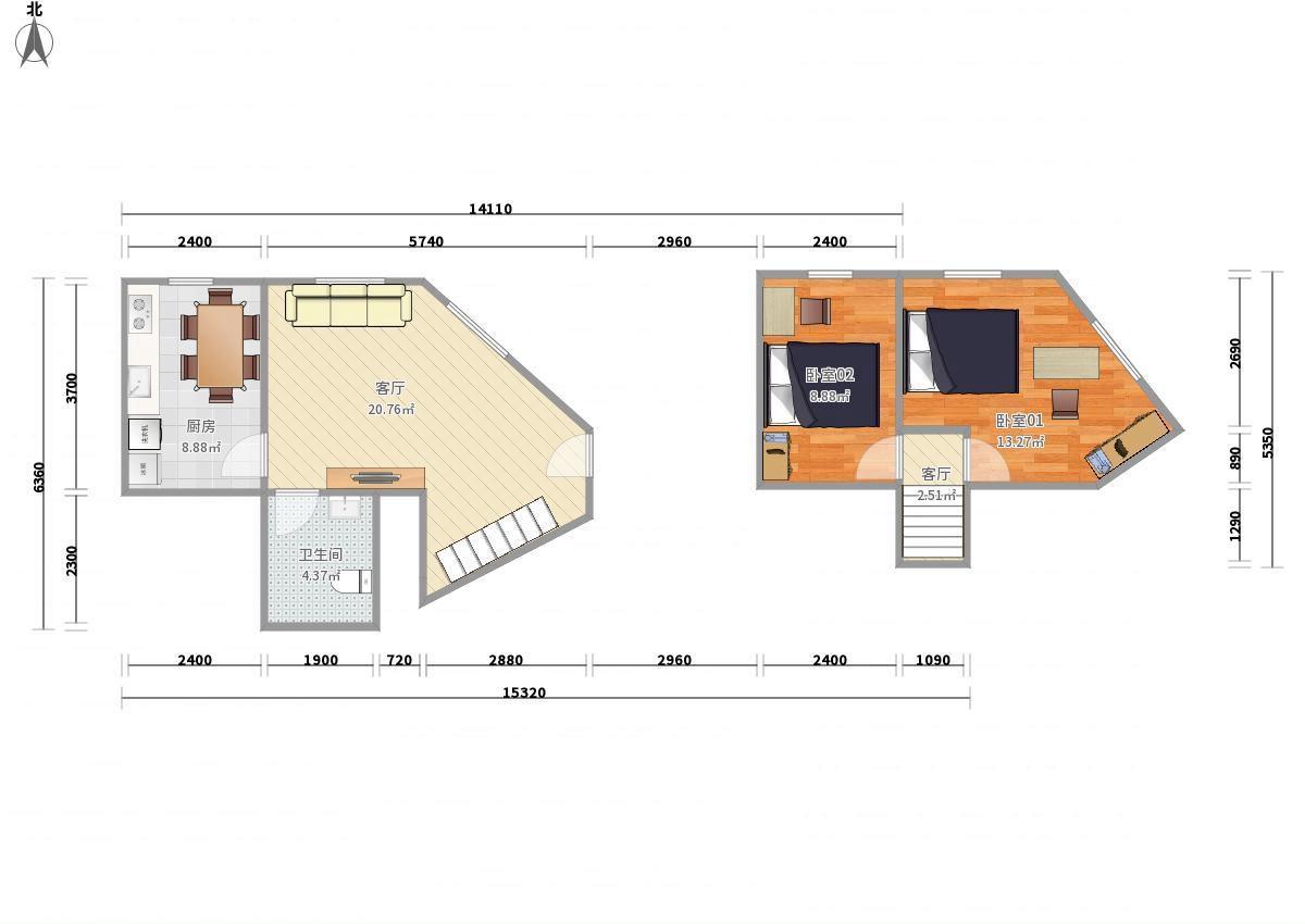 澳洲康都2居室租房|房屋出租(北京链家网)