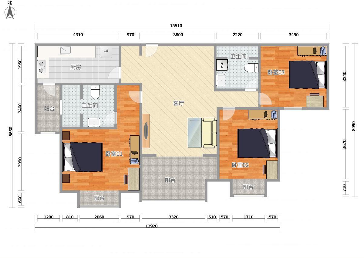海淀上地13号线上地橡树湾3居室