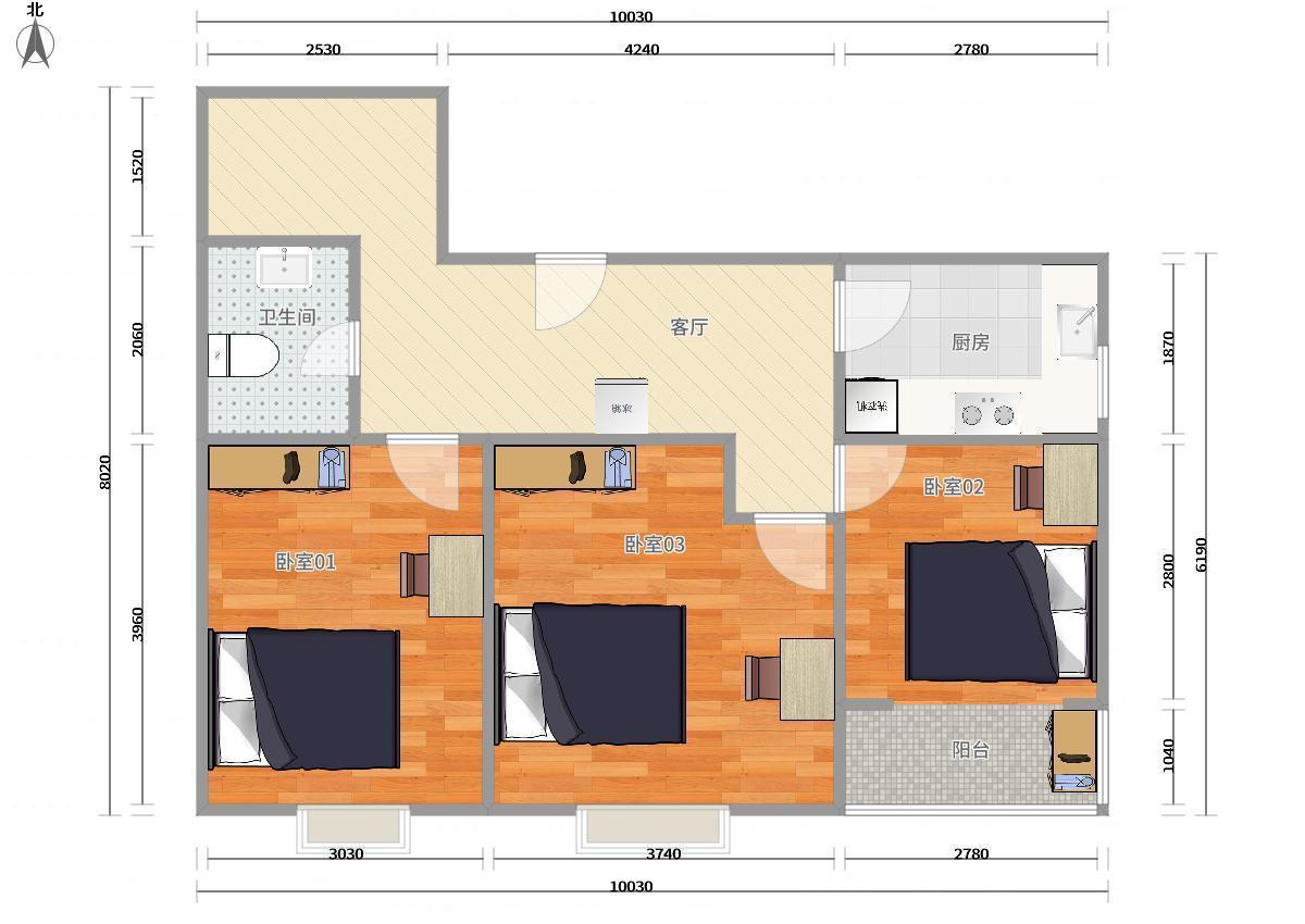 澳洲康都3居室 03卧租房|房屋出租(北京链家网)