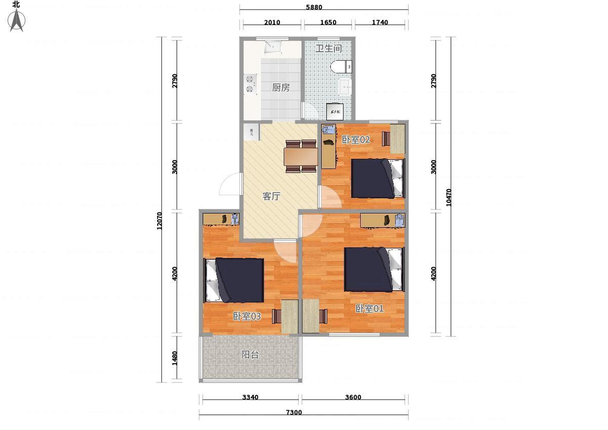 浦东川沙2号线华夏东路合欢公寓3居室