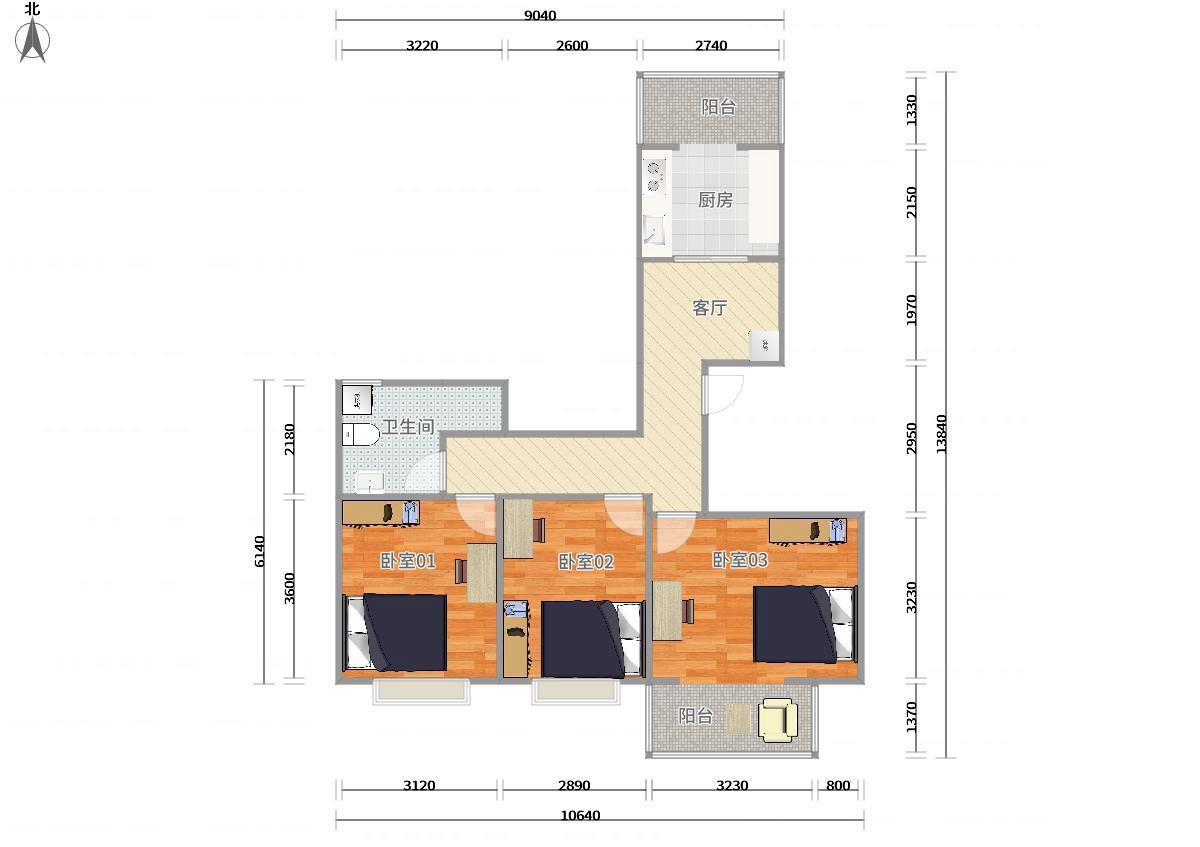 通州武夷花园6号线北运河东紫荆园3居室