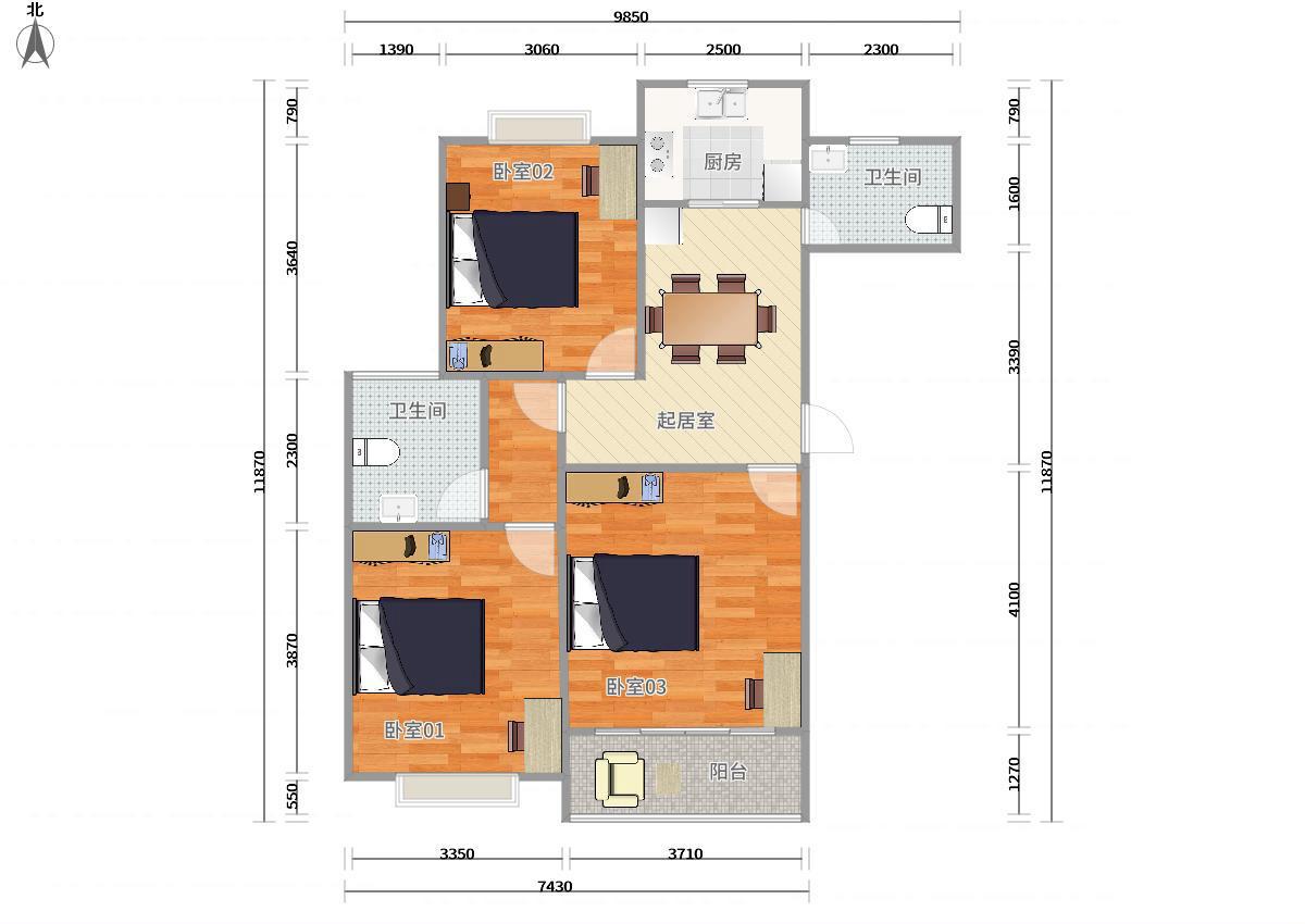 浦东川沙2号线川沙贝越水岸名邸3居室