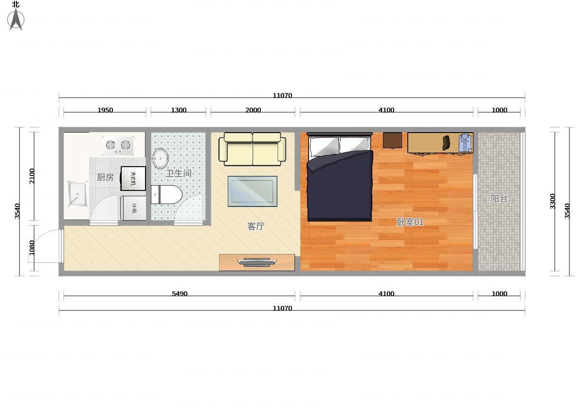西城西直门4号线新街口玉桃园三区1居室