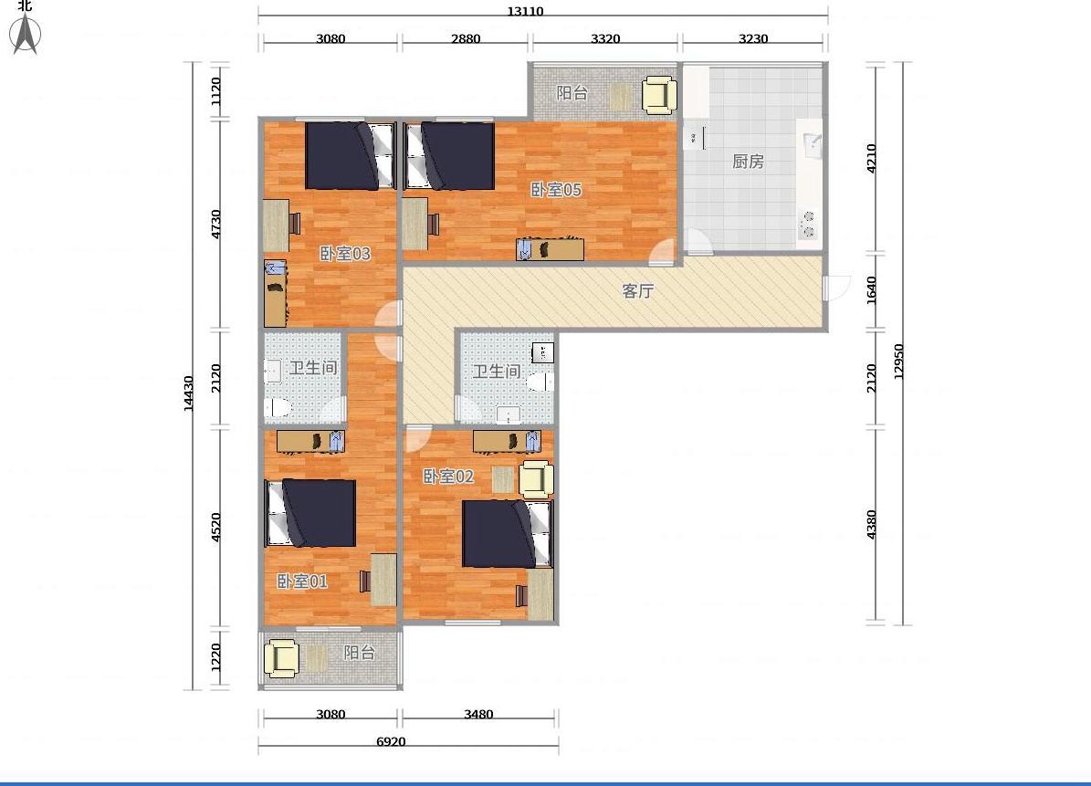 顺义顺义城15号线石门卧龙公寓4居室