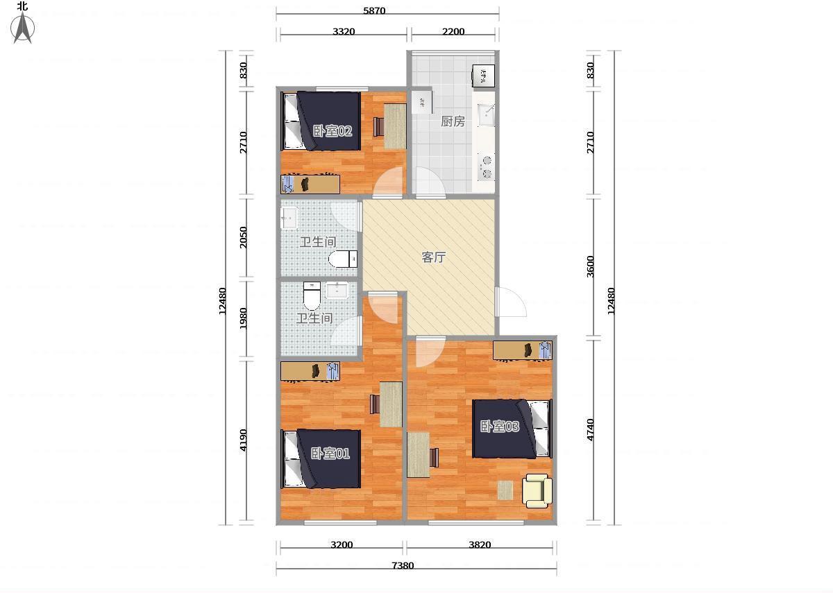 通州九棵树(家乐福)八通线果园蓝调沙龙西区3居室