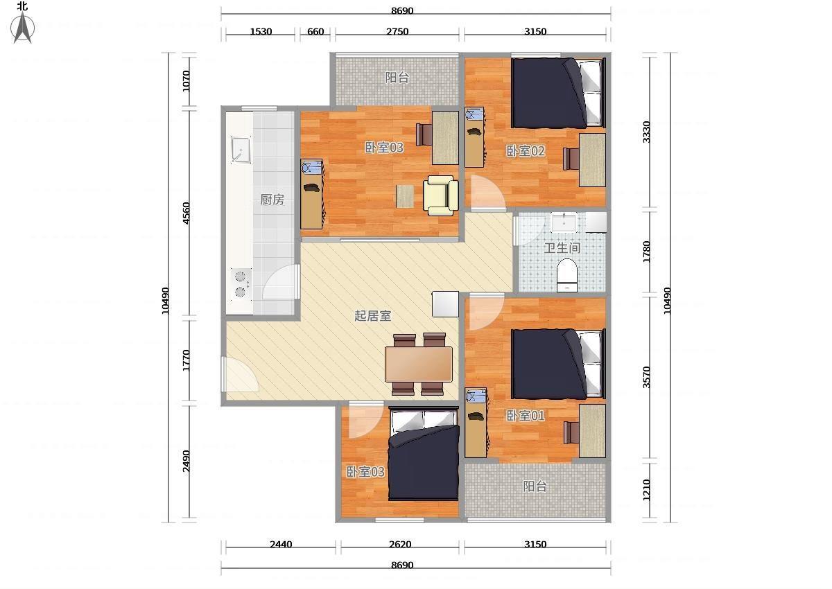 丰台北大地9号线,14号线七里庄东大街5号院3居室