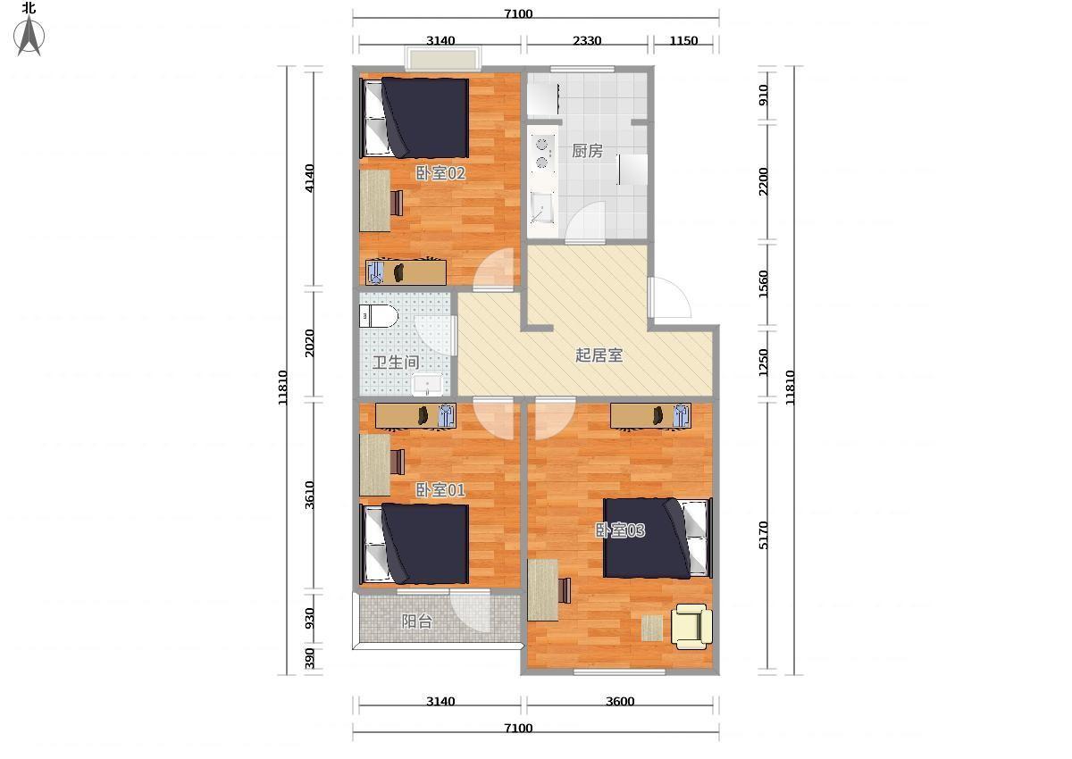 通州九棵树(家乐福)八通线九棵树阿尔法社区二期3居室
