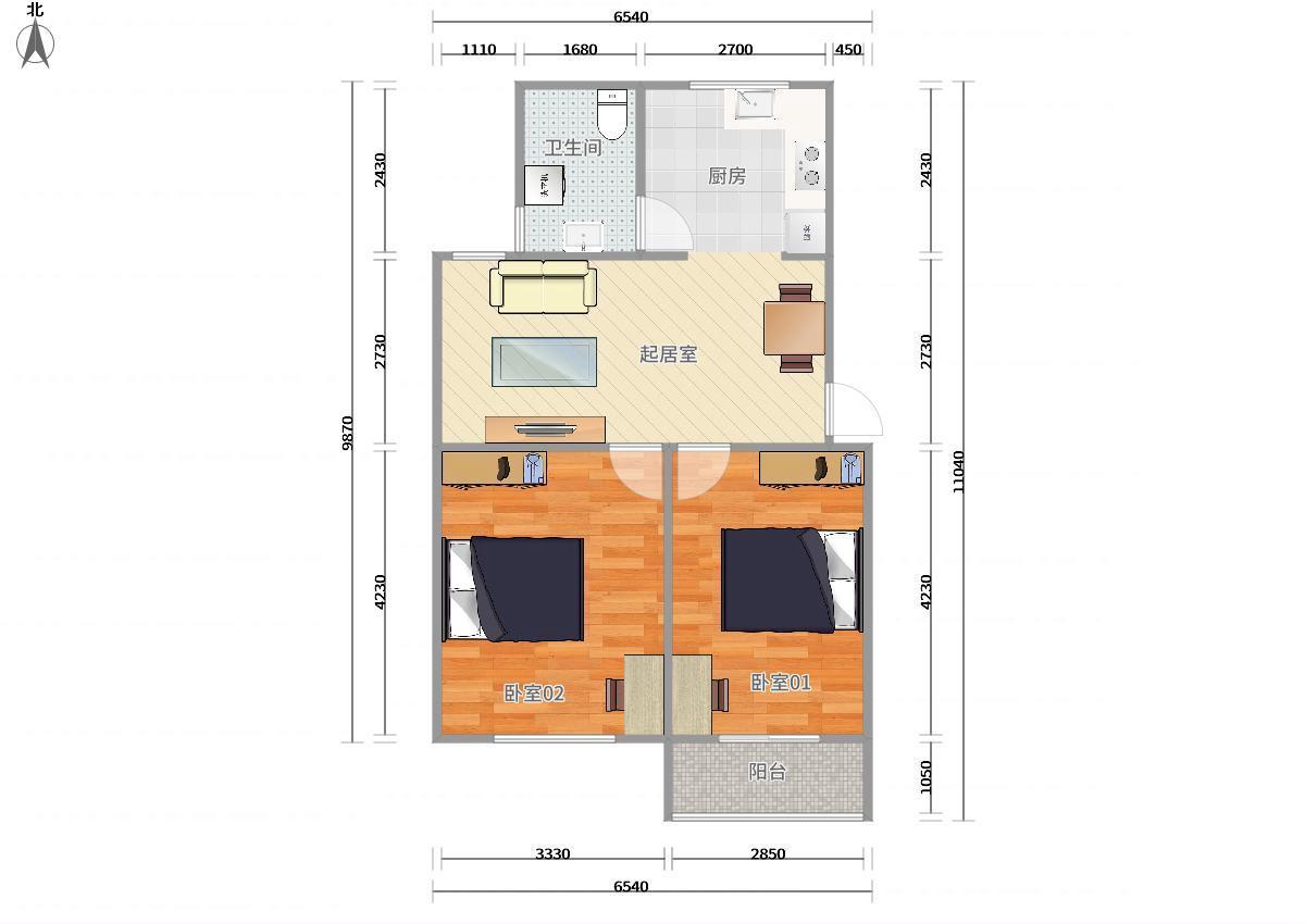 浦东川沙2号线华夏东路临河小区2居室