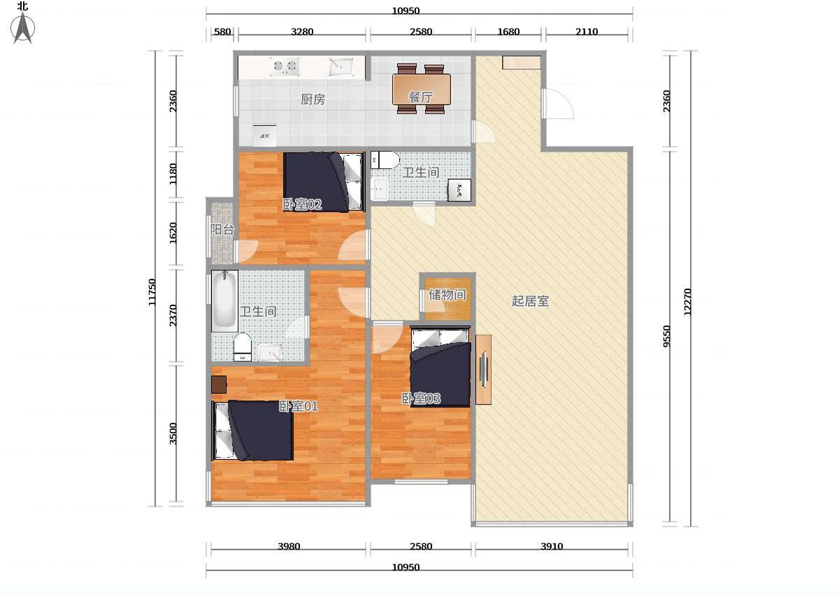 朝阳大望路1号线,14号线大望路华贸国际公寓3居室