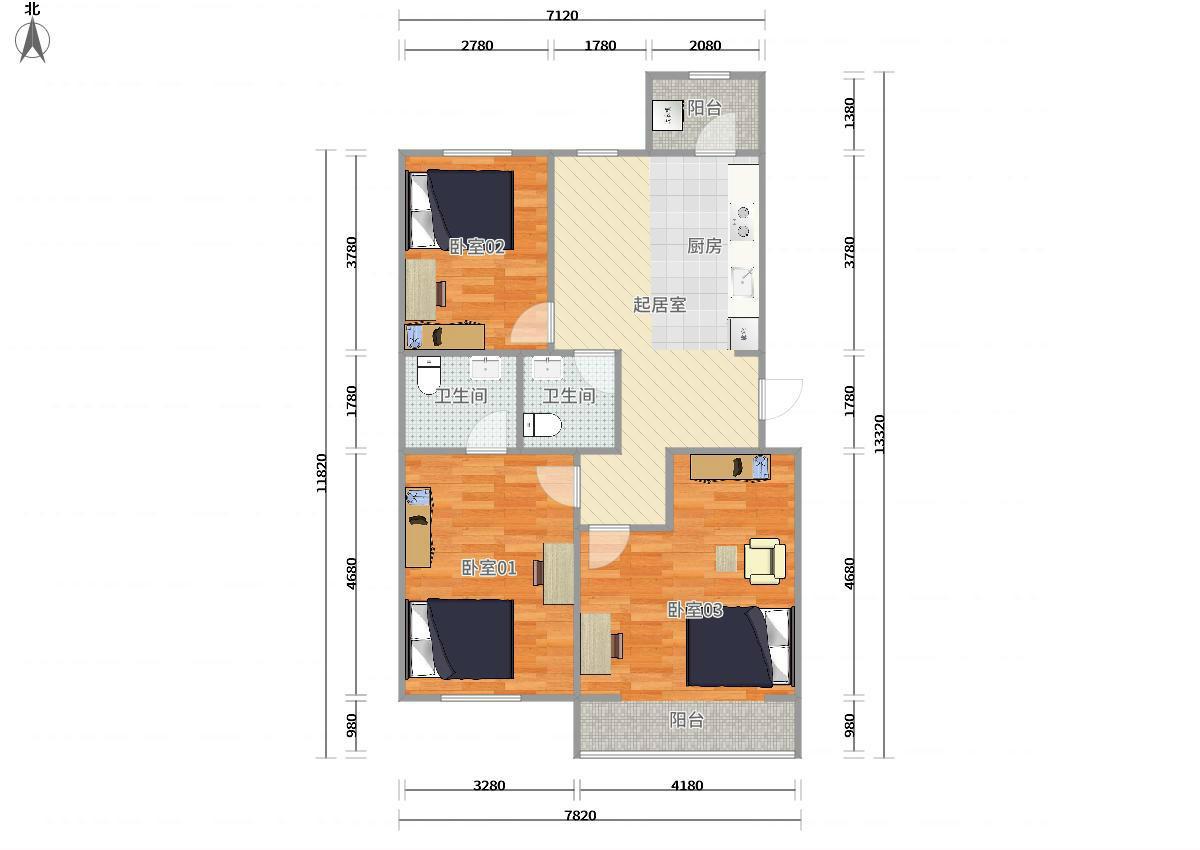 昌平北七家蓬莱公寓东区3居室