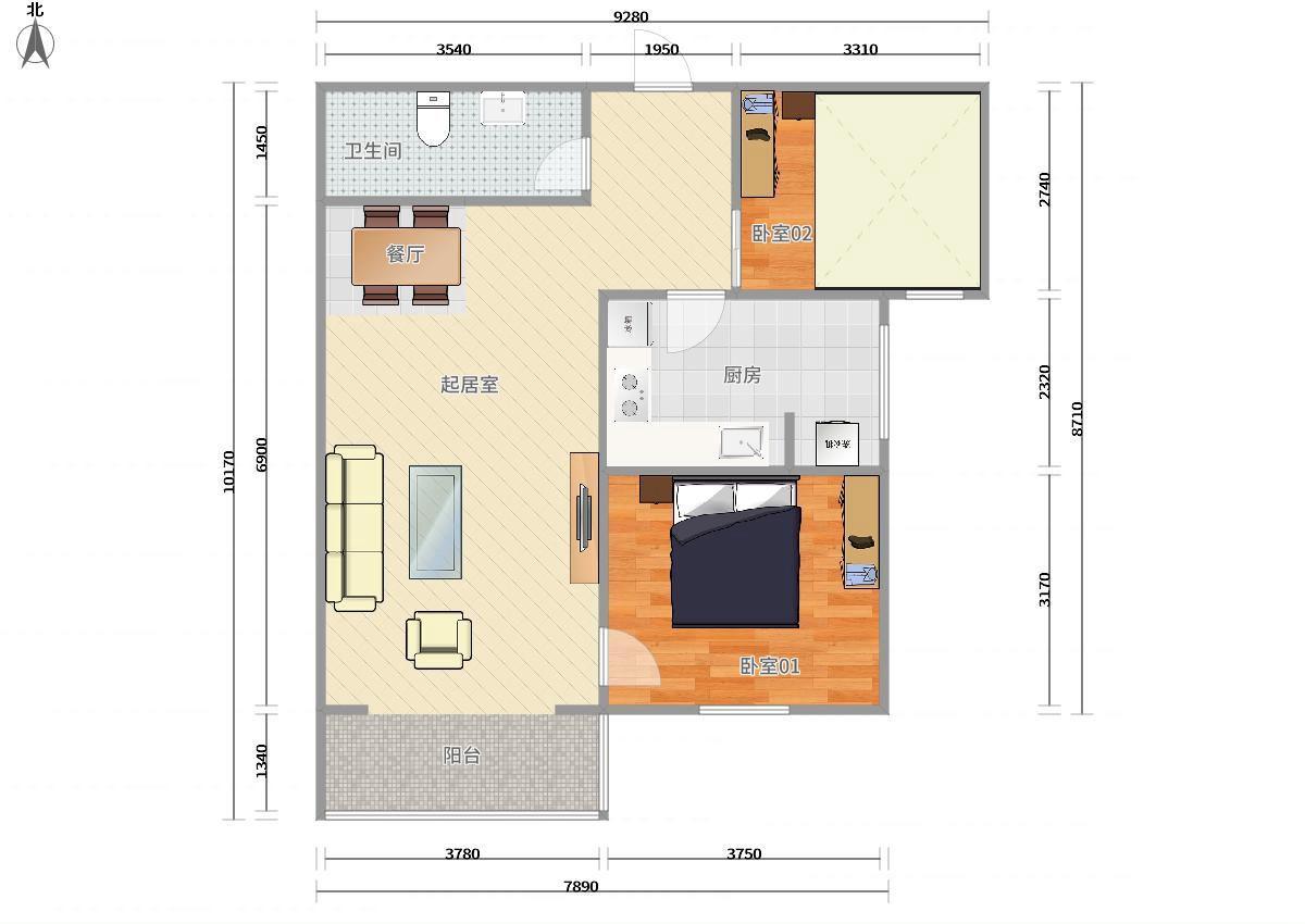 大兴西红门4号线西红门宏大南园2居室