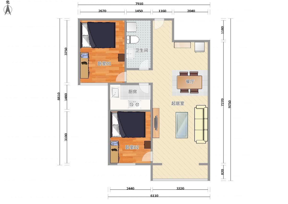 海淀西三旗8號線西小口世華龍樾2居室