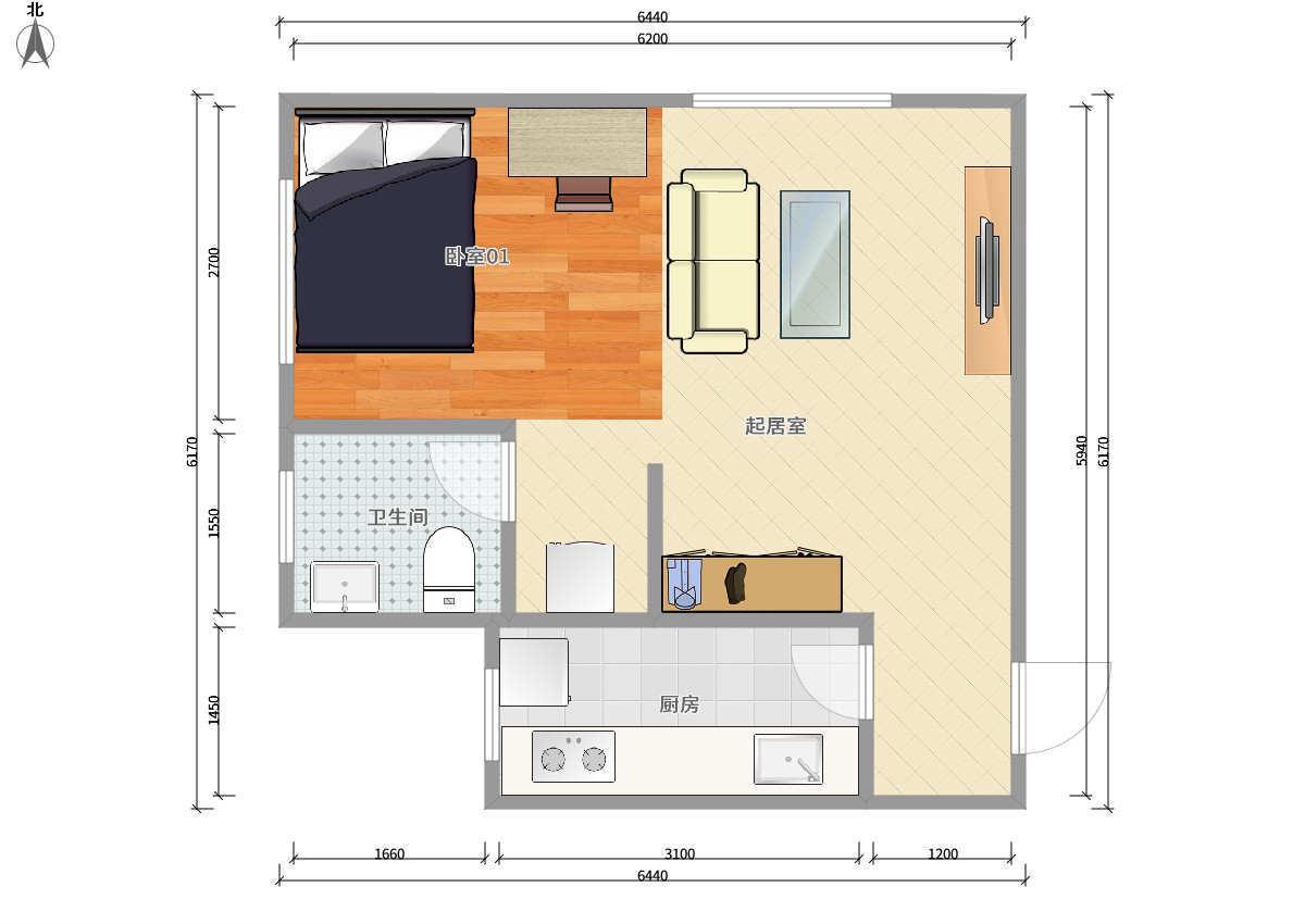 丰台六里桥14号线大井第七街区1居室