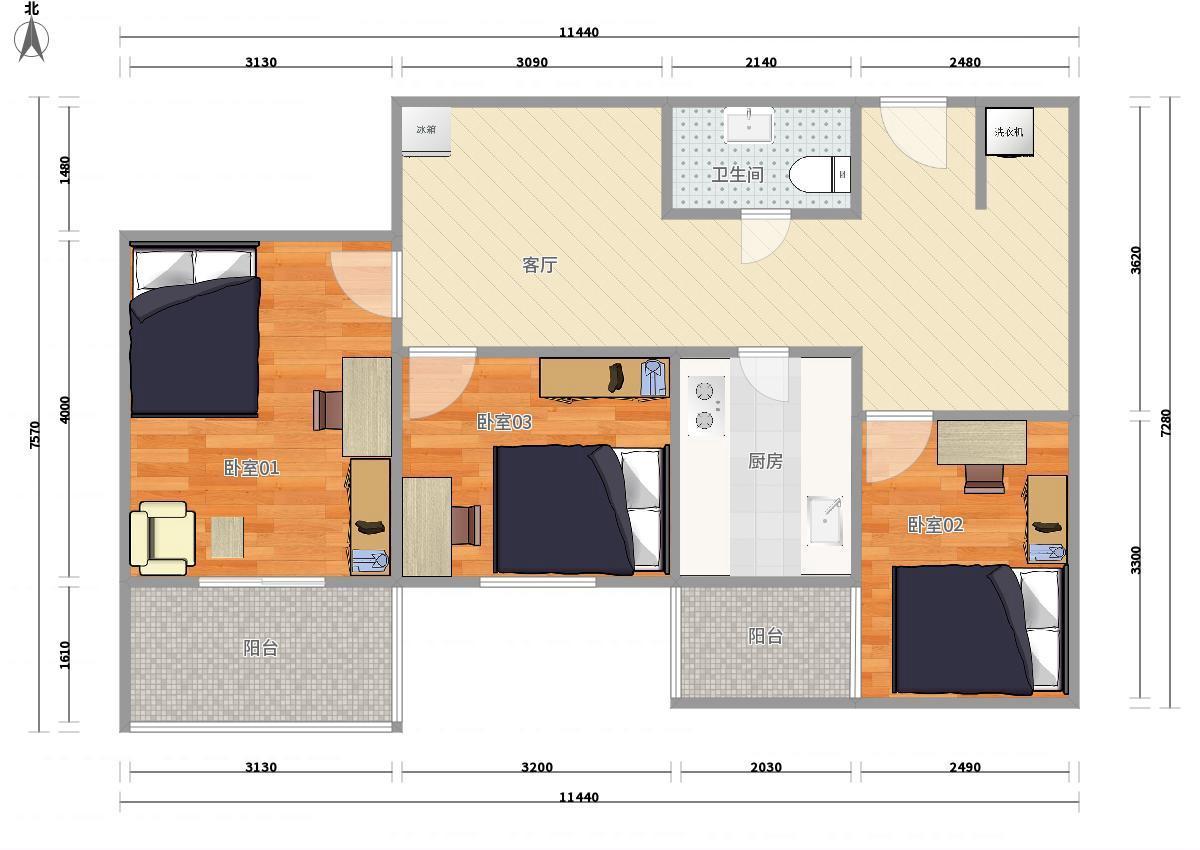 朝阳十里堡6号线十里堡晨光家园3居室